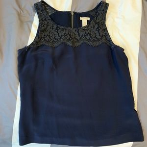 J. Crew Sleeveless Navy Lace Top Blouse
